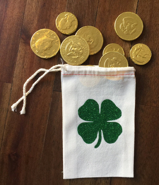 Cotton Muslin Drawstring bag | Green Glitter Shamrock
