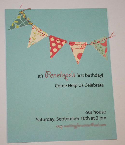 Bunting flags pennant garland handmade sewn aqua and red invitation - custom