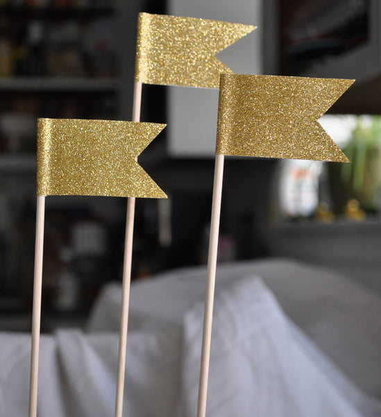 Cake Topper | Large Gold Glitter Flags
