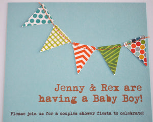 Bunting flags pennant garland handmade sewn aqua and orange boy invitation - custom
