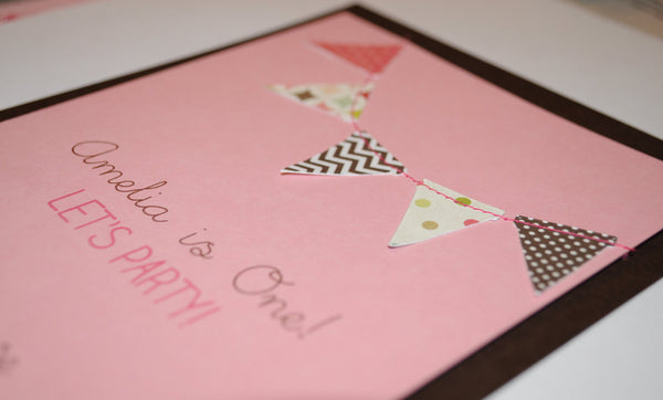 Bunting flags pennant garland handmade sewn pink and brown invitation - custom