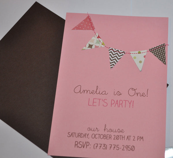 Create your own - Bunting flags pennant garland handmade sewn invitation