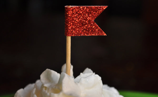 Cupcake Toppers | Red Glitter