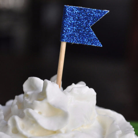 Cupcake Topper | Royal Blue Glitter Flags