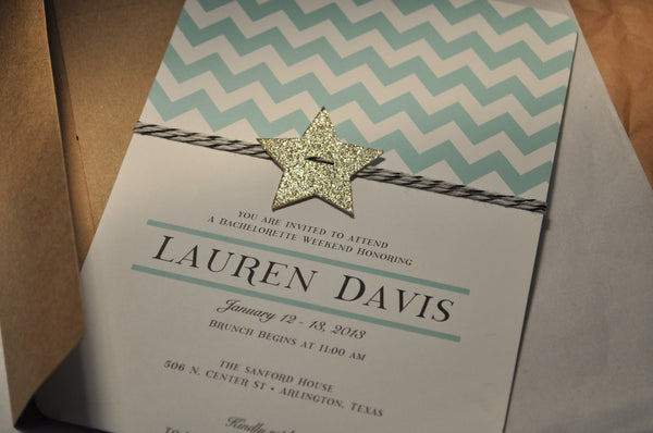 Birthday Invitation | Mint Chevron & Gold Star