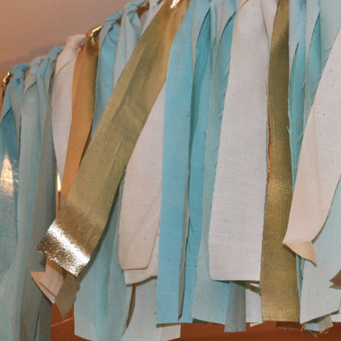 Hand Dyed Fabric Garland | Aqua Blue & Gold