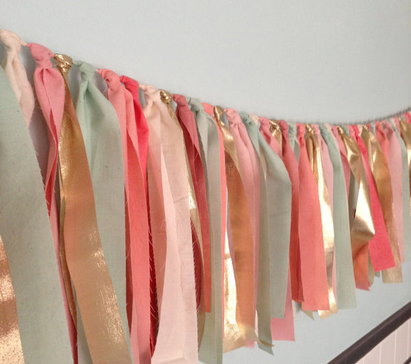 Hand Dyed Fabric Garland | Mint, Coral, Pink & Gold