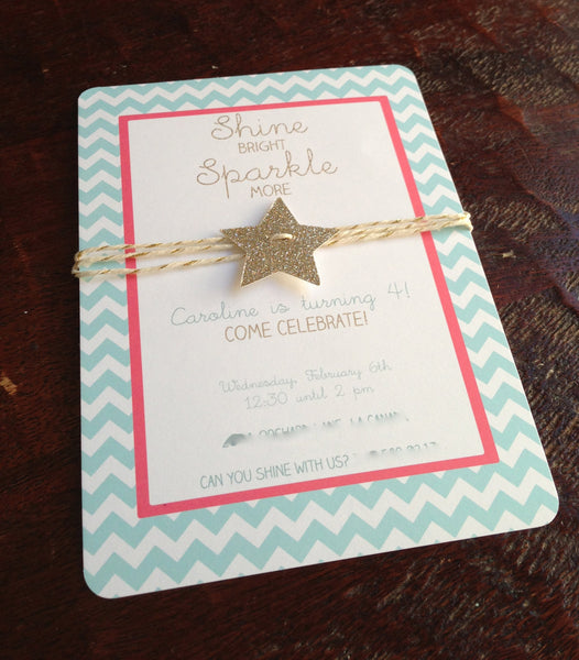 Chevron, glitter star and gold bakers twine aqua blue and bright pink gold birthday, shower invitation