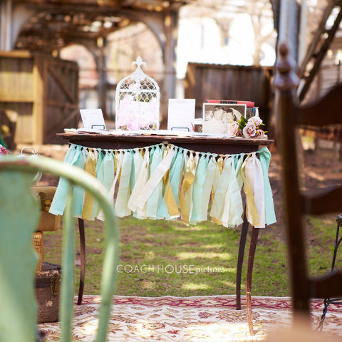 Hand Dyed Fabric Garland | Mint, Seafoam & Gold
