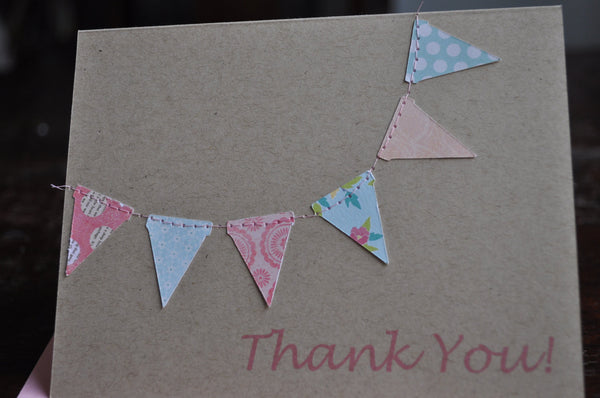 Handmade Bunting flags pennant garland stitched Thank you cards in kraft, pink and blue floral