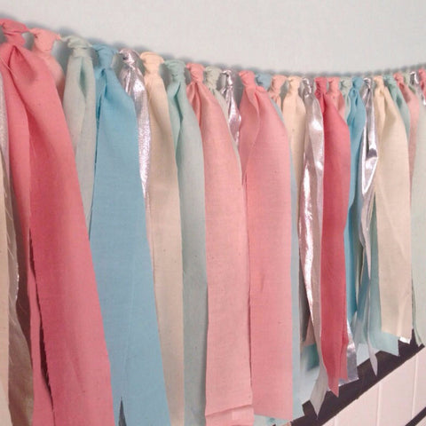 Hand Dyed Fabric Garland |  Blush Pink, Aqua Blue & Silver
