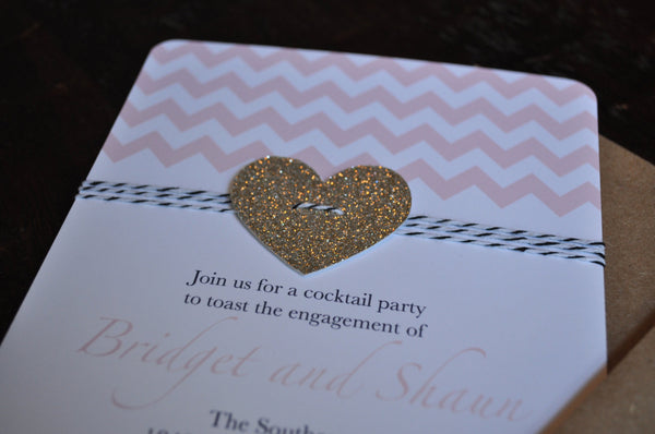 Baby Love Invitation | Pink Chevron & Gold Heart