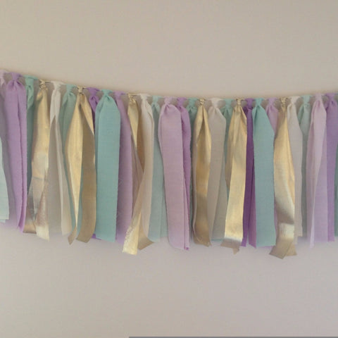 Hand Dyed Fabric Garland | Mint, Lavender & Gold
