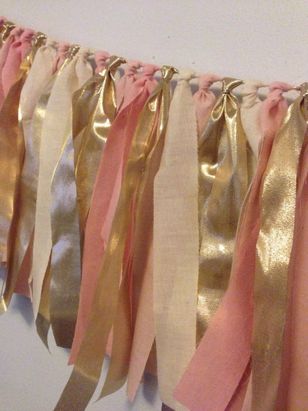 Hand Dyed Fabric Garland | Blush Pale Pink & Gold