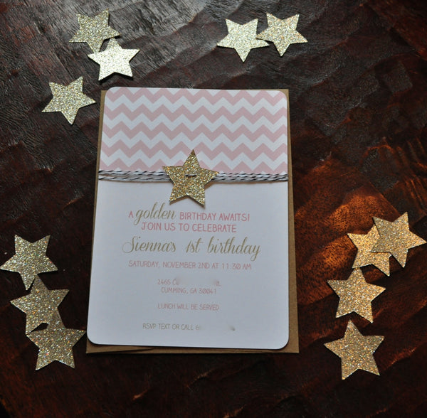 Birthday Invitation | Pink Chevron & stars | Golden Birthday