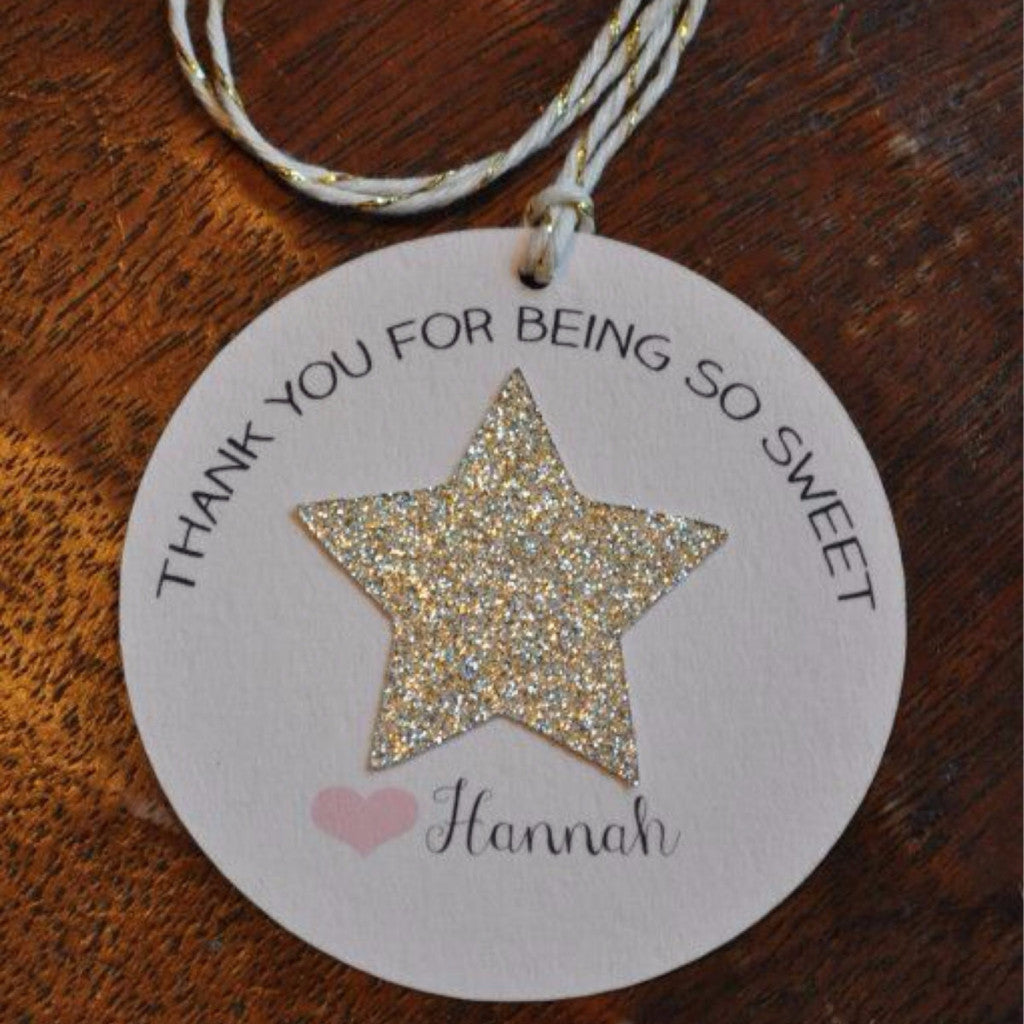 Favor Tags | Personalized with Gold Glitter Star