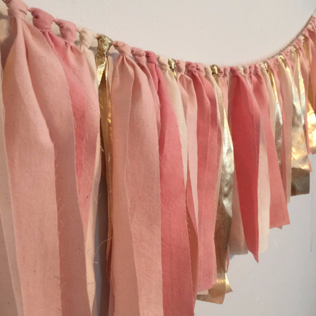 Hand Dyed Fabric Garland | Pink & Gold