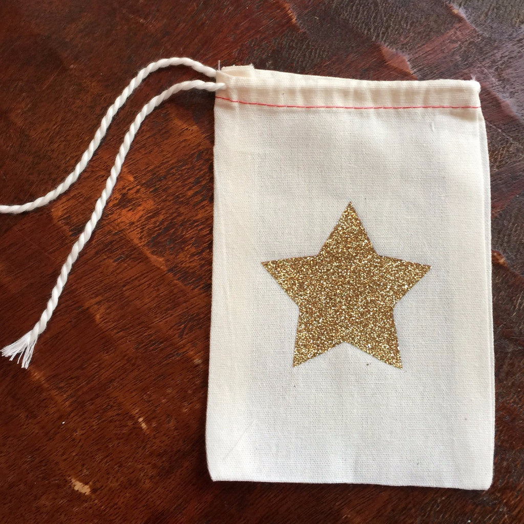 Cotton Muslin Drawstring Bag | Gold Glitter Star