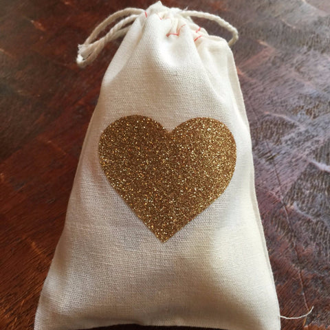 Cotton Muslin Drawstring Bag | Gold Glitter Heart