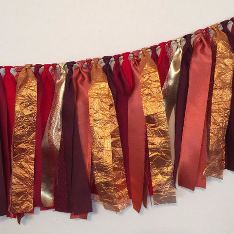 Fabric Rag Garland | Copper, Maroon & gold