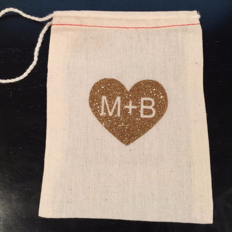 Cotton Muslin Drawstring Bag | Personalized Gold Glitter Heart