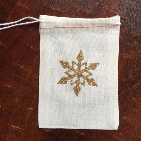 Cotton Muslin Drawstring Bag | Gold Glitter Snowflake