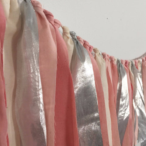 Hand Dyed Fabric Garland | Blush Pink & Silver