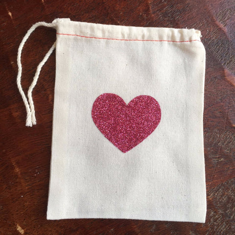 Cotton Muslin Drawstring Bag | Pink Glitter Heart