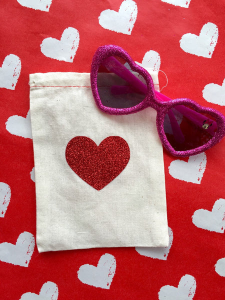 Cotton Muslin Drawstring Bag | Red Glitter Heart