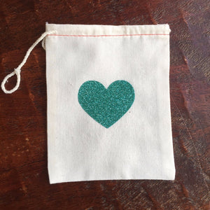 Cotton Muslin Drawstring Bag | Mint Green Glitter Heart