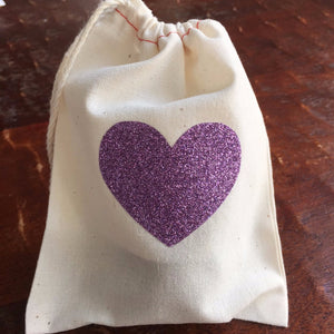 Cotton Muslin Drawstring Bag | Lavender Purple Glitter Heart