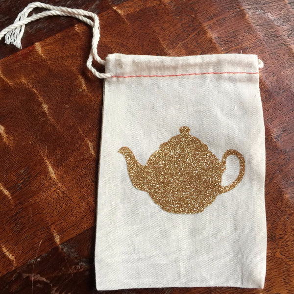 Cotton Muslin Drawstring Bag | Gold Glitter Teapot