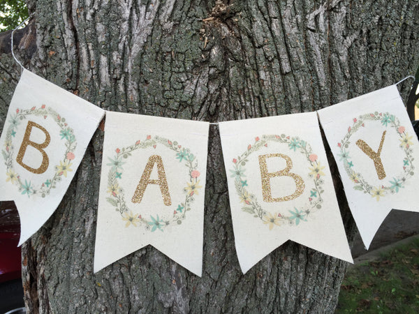Banner | Baby Shower | Floral Mint, Coral & Gold