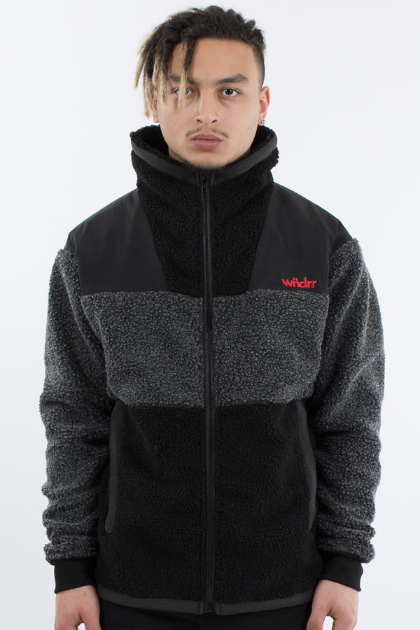 PEAK SHERPA JACKET - BLACK/GREY