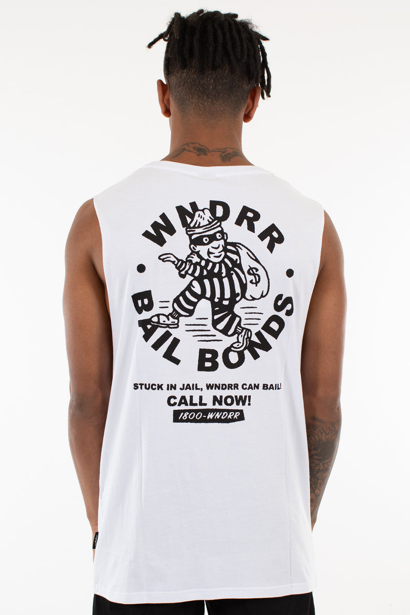 BAIL BONDS MUSCLE TOP - WHITE