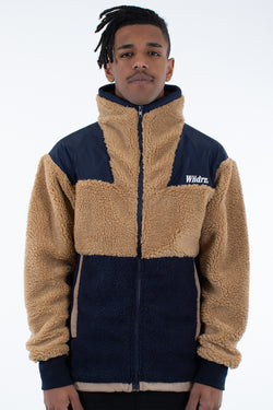 KEMBA SHERPA JACKET - NAVY/TAN