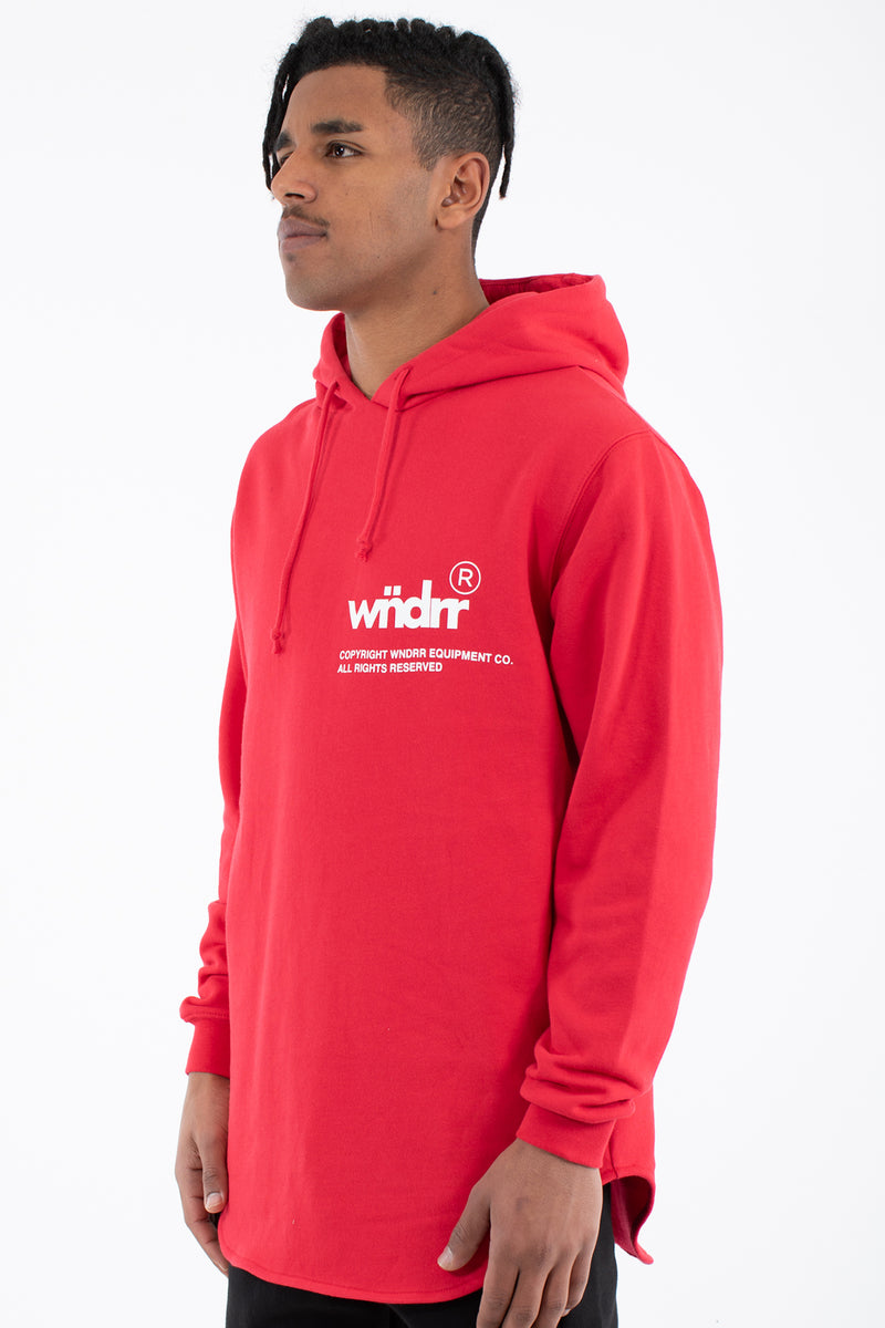 OFFCUT CURVED HEM HOOD SWEAT - RED