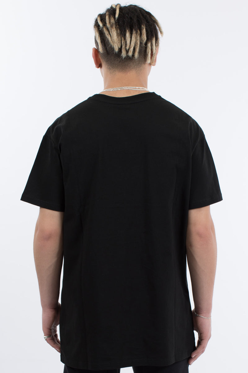 ROUND UP 3 PANEL TEE - BLACK/WHITE