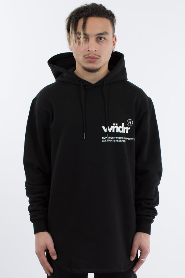 OFFCUT CURVED HEM HOOD SWEAT - BLACK