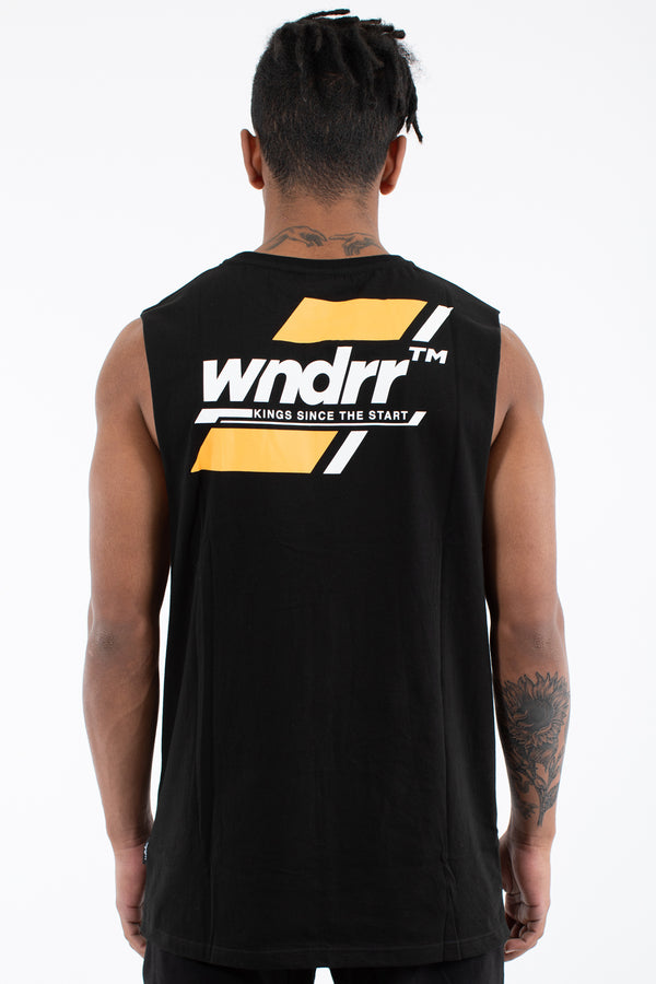 Across Muscle Top-Black with Raw Low Cut Arm Holes | WNDRR