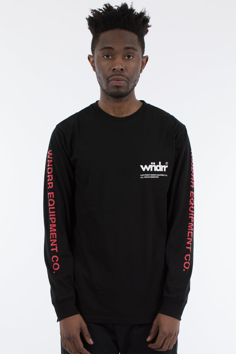 OFFCUT LONG SLEEVE TEE -  BLACK