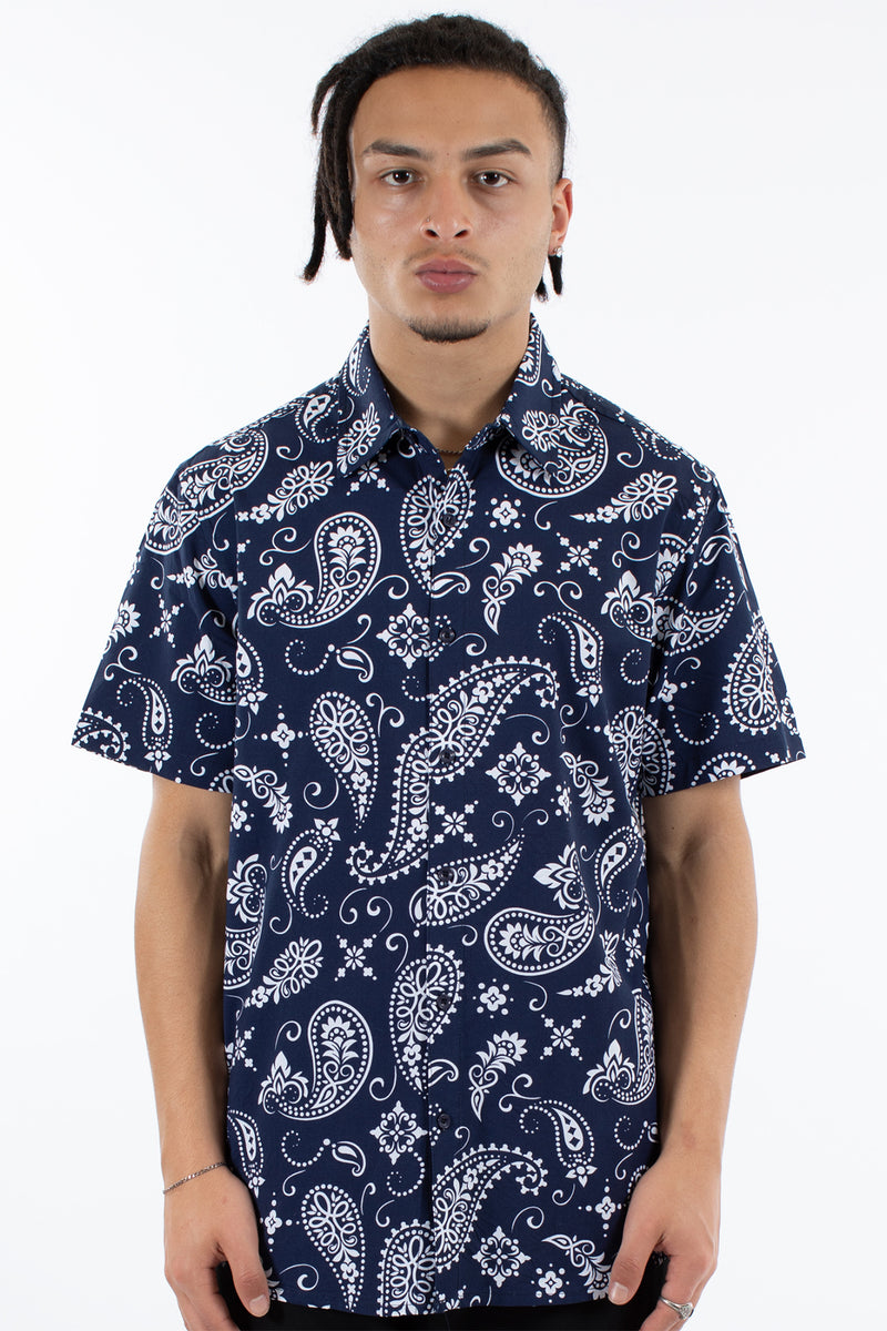 ARCADIA S/S SHIRT - NAVY/WHITE
