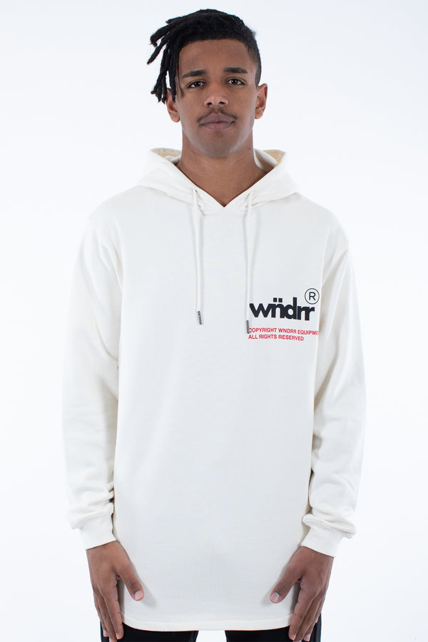 OFFCUTS CURVED HEM HOOD SWEAT - OFF WHITE
