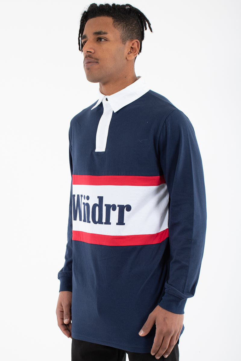 THOMPSON L/S RUGBY POLO TOP - NAVY