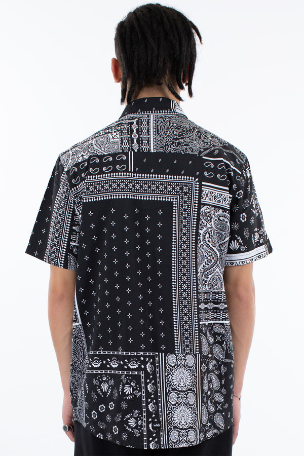 MOSAIC S/S SHIRT - BLACK/WHITE