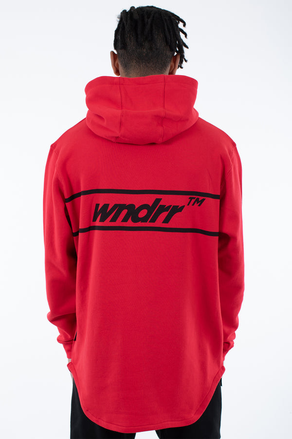 BOOKER CURVED HEM HOOD SWEAT - RED