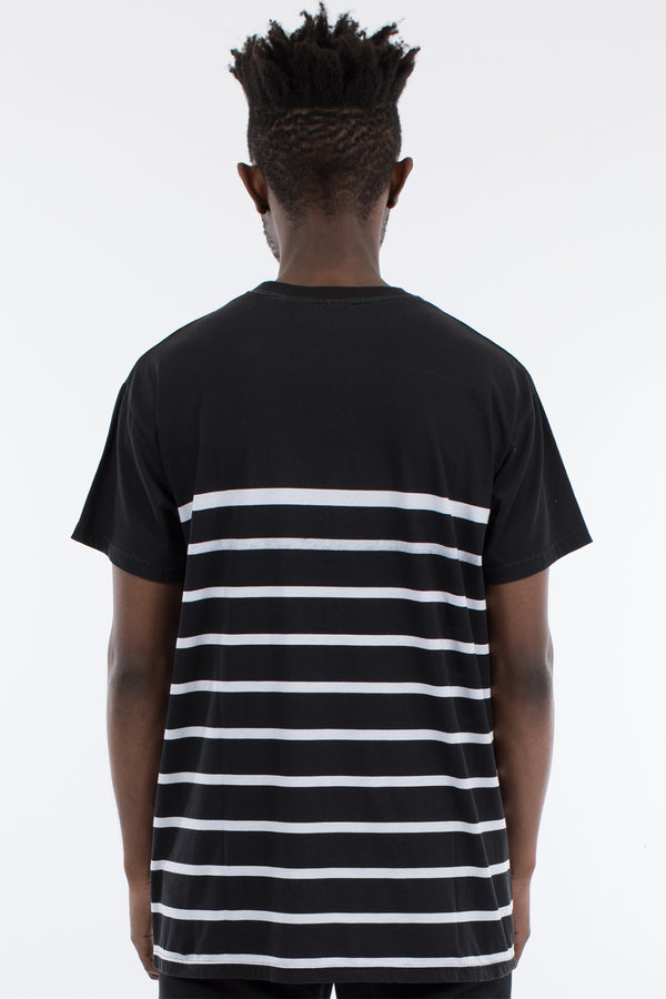 BOUND STRIPE CUSTOM FIT TEE - BLACK/WHITE