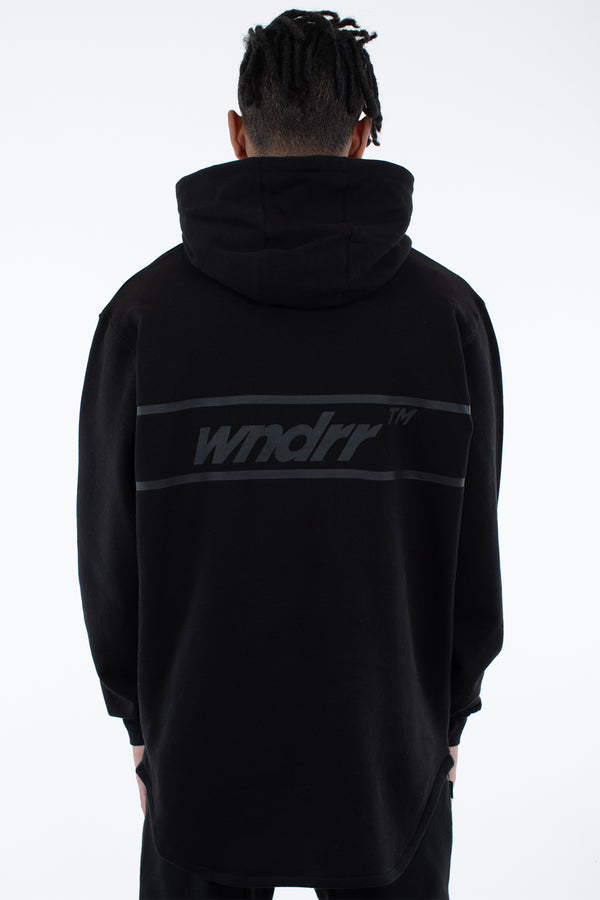 BOOKER CURVED HEM HOOD SWEAT - BLACK