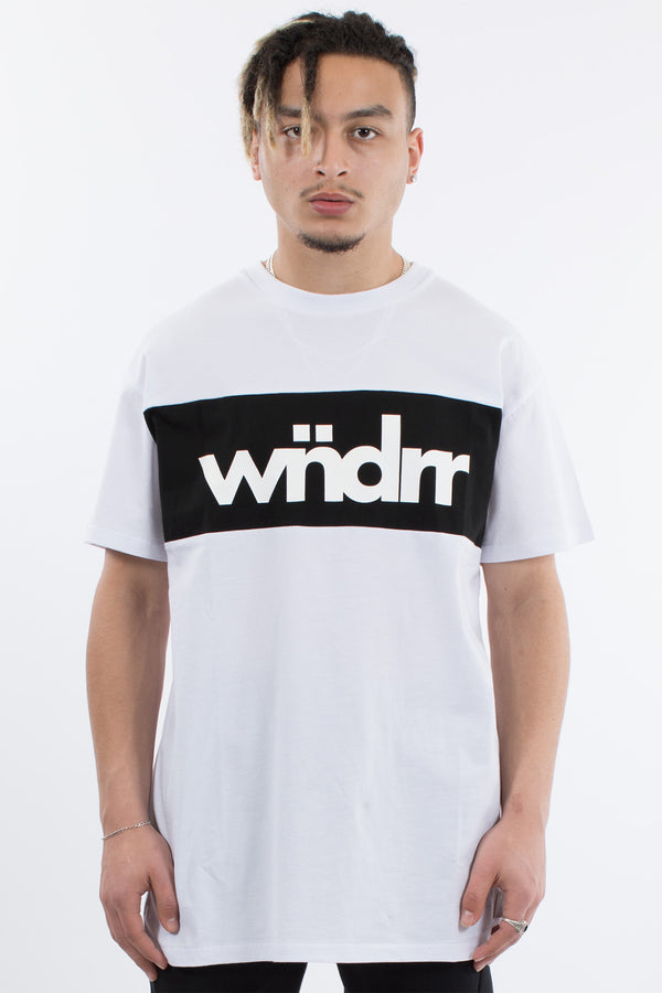 ROUND UP 3 PANEL TEE - WHITE/BLACK