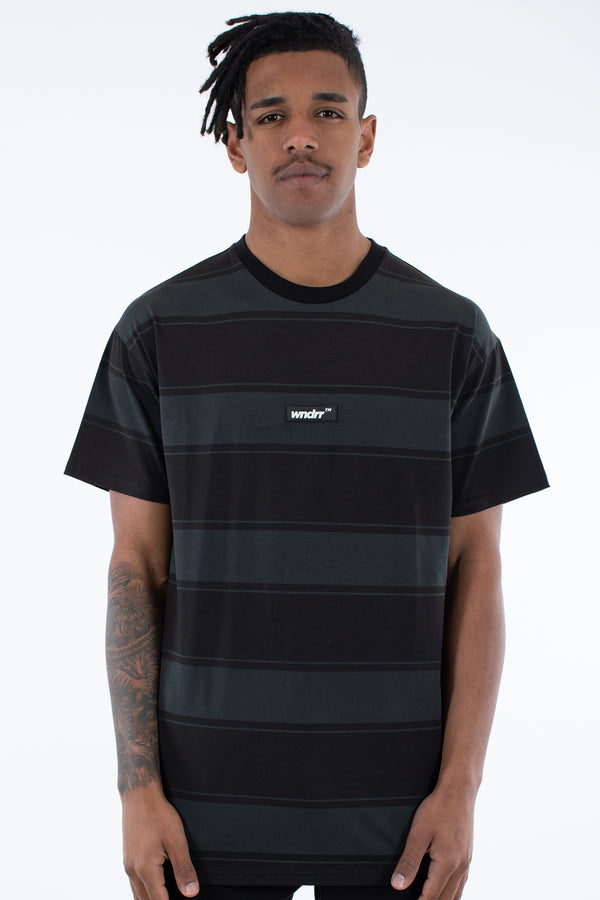 OUTFIELD STRIPE TEE - BLACK